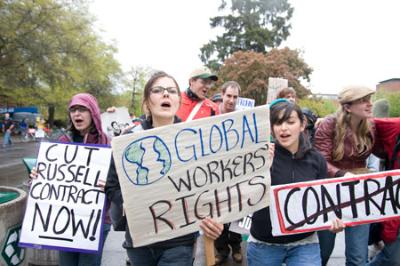 University of Oregon students protest Russell contract. Photo: Dave Martinez, Oregon Daily Emerald