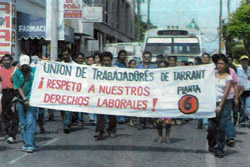 Garment workers march in Puebla