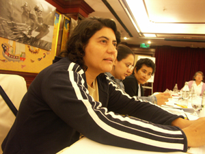 Yadira Rodriguez of EMIH, Ana Lucia Fuentes of COVERCO and Nelly Delcid from Women's Forum for Life describe the post-MFA situation in Central America